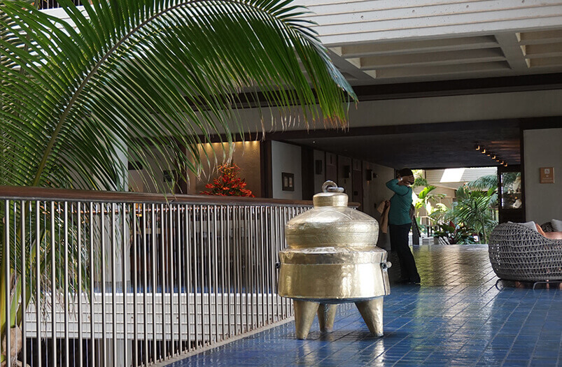 lobby with urn
