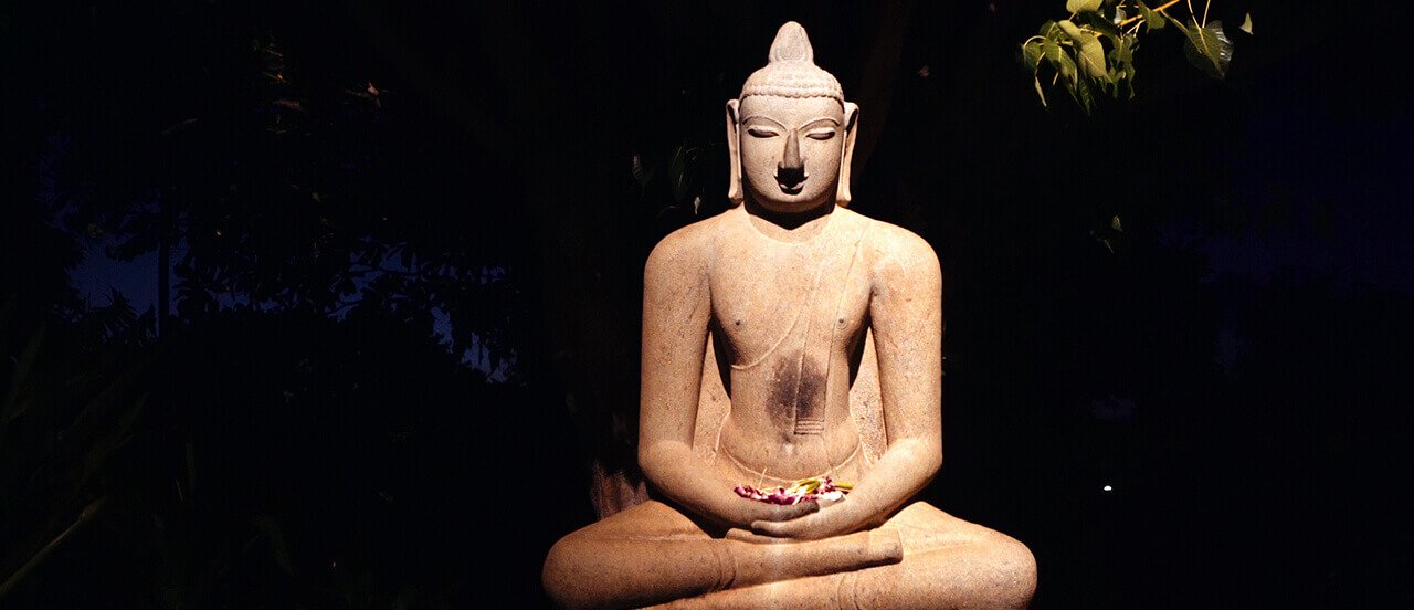 buddha statue at night
